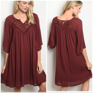 Dresses - ALIA Maroon crochet dress/ tunic